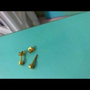 Gold stud piercing earrings